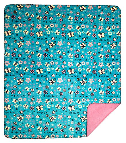 Denali Throw - FactoryDepot Denali Home Collection by Monterey Mills 60-Inch by 70-Inch Denali Double-Sided MicroPlush Throw, Time to Blossom/Light Pink
