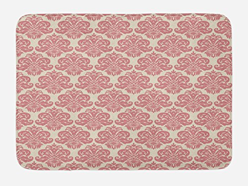 Lunarable Dusty Rose Bath Mat, Antique Damask Motifs Ornate Victorian Feminine Pattern Old Fashioned Revival, Plush Bathroom Decor Mat with Non Slip Backing, 29.5 W X 17.5 L Inches, Rose -
