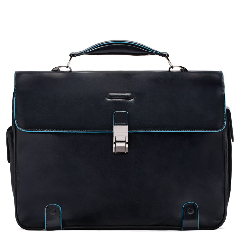 Piquadro Brief Case with 2 Gussets In Leather, Dark Blue, One Size