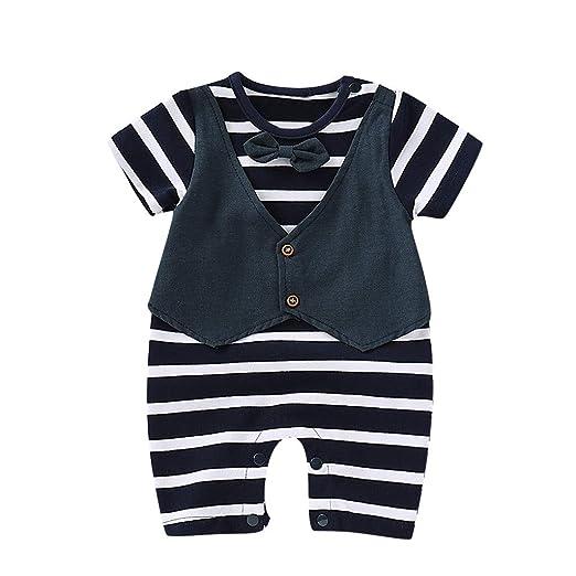 618e3d56de1f Amazon.com: Cuekondy Newborn Infant Baby Boy 2019 Fashion Gentleman Bow Tie  Striped Print Short Sleeve Romper Jumpsuit 0-18 Month: Clothing