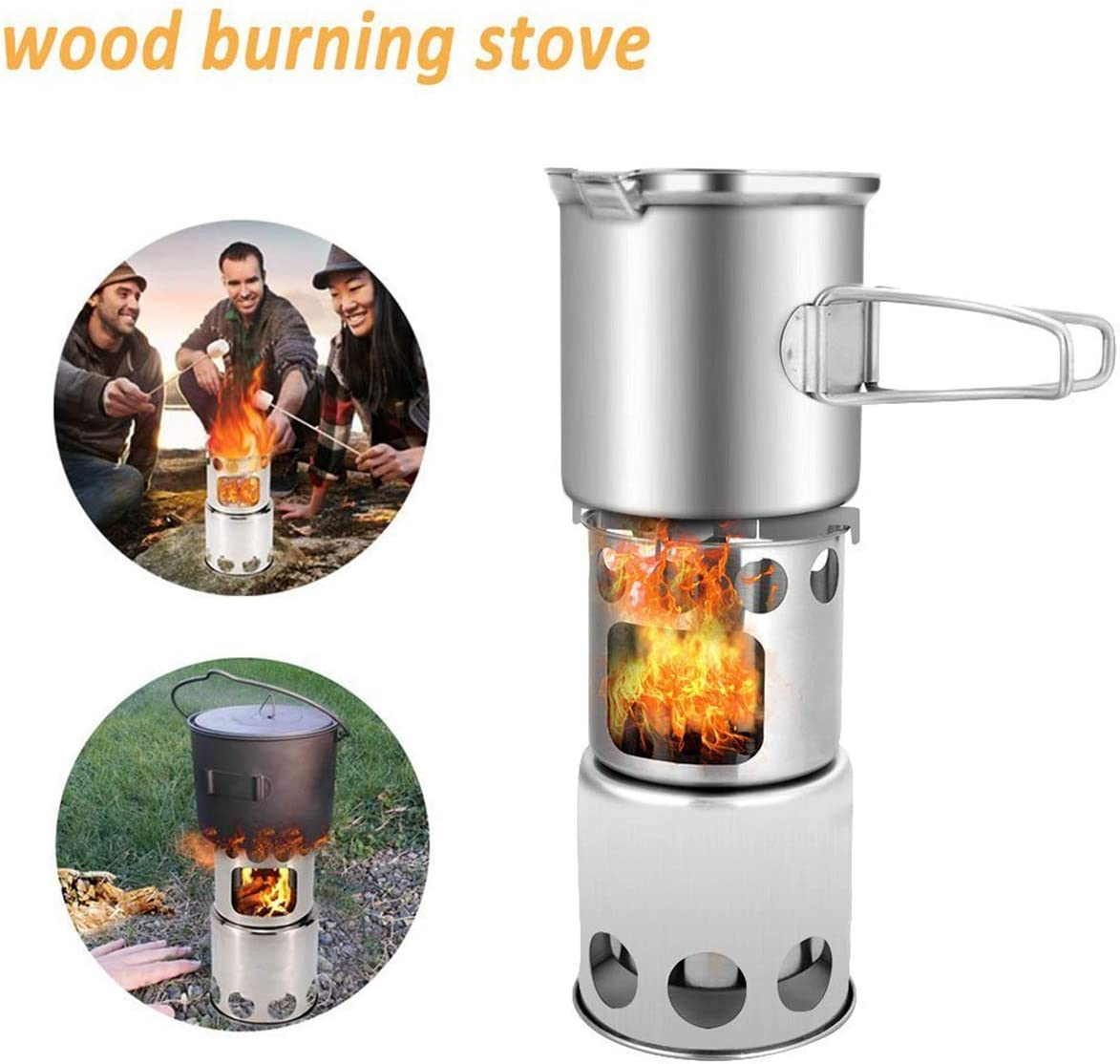 Color : Wood stove Jinxuny 304 Stainless Steel Camping Cookware Set with Wood Stove /& Pot Outdoor Camping Hiking Backpacking Cooking Picnic Cookware Mess Kit for 1-2 Adult
