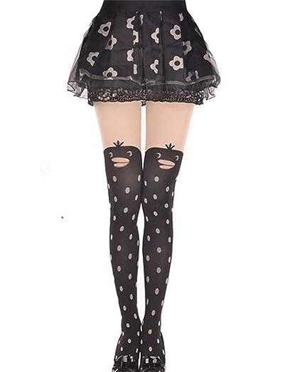Elufly Lady s Jacquard Pantyhose Selfdom Dot and Strip Cat Bird Silk Socks  (dot ... 2e5d7eec3590
