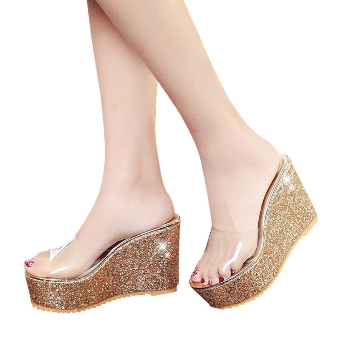 Sunbona Women Summer Slippers Ladies Transparent Peep Toe High Thick-Bottom Waterproof Platform Wedge Sandals (US:6.5(RU/EU/CN37), Gold)