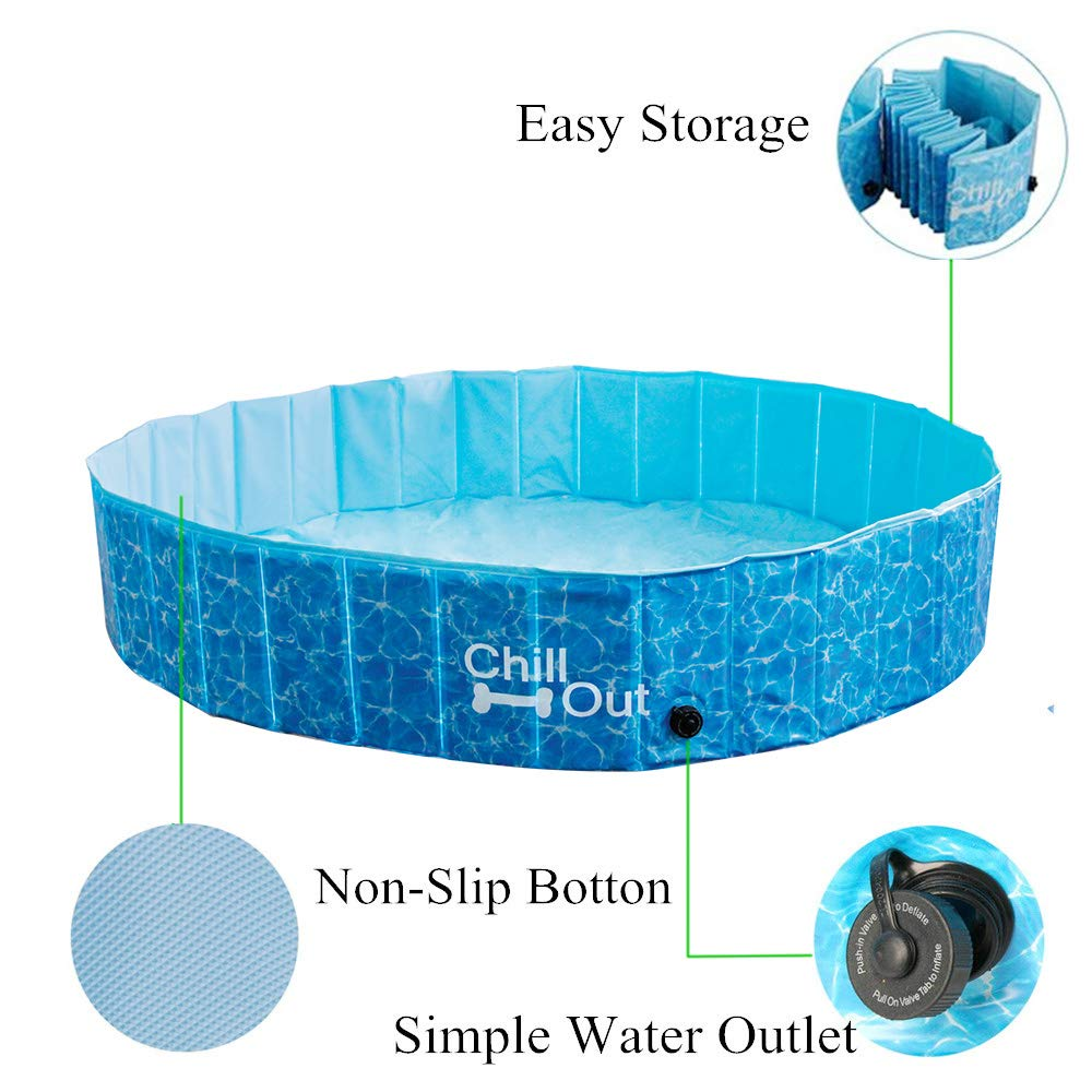 All for Paws Extra Large Dog Swimming Pool, Collapsible Pet Bathing Tub,  Anti-Slip, Great for Dogs and Kids
