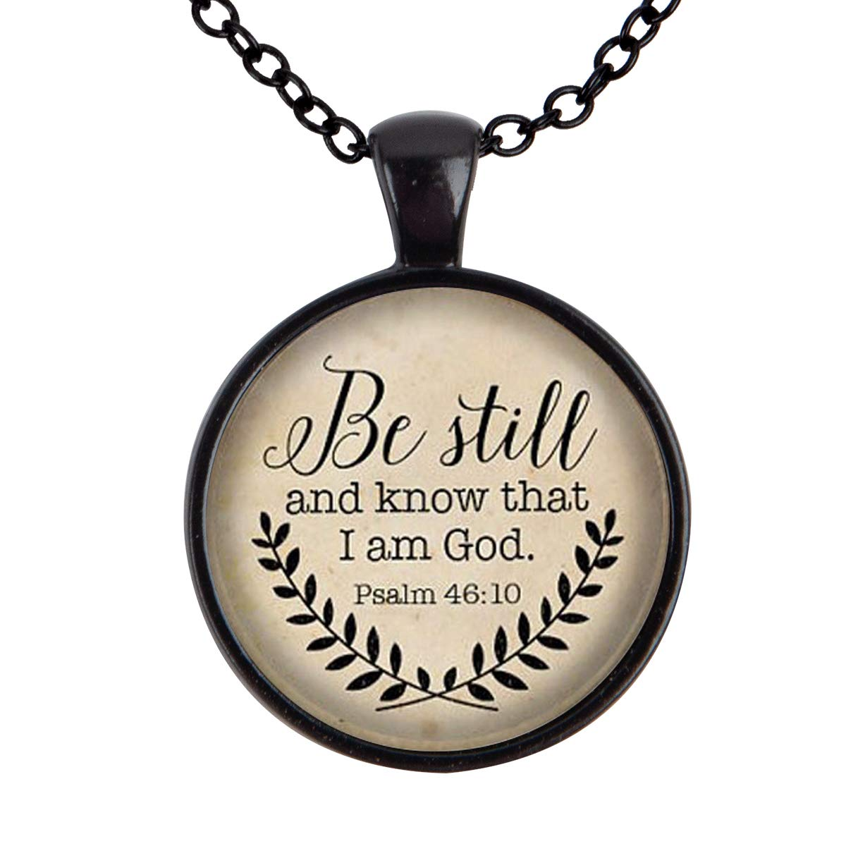 Lightrain Be Still and Know That I am God Quote Pendant Necklace Vintage Bronze Chain Statement Necklace Handmade Jewelry Gifts