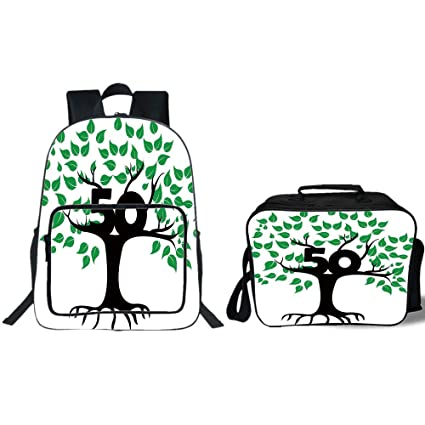 IPrint 19quot School Backpack Lunch Bag Bundle50th Birthday DecorationsStylized Tree