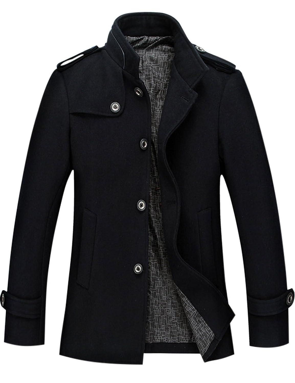 WantDo Men's Pea Coat Stand Collar Windproof Jacket Overcoat at ...