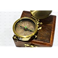 World Of Vintage Happiness Is A Direction Not A Place Quote Antique Brass Compass 2 Inch with Wooden Box, Unique Gift