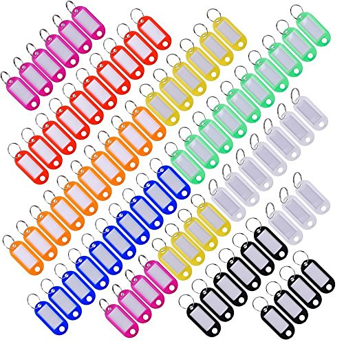 (Oaimyy Multi-Colors Plastic Key Fob ID Tags Luggage ID Labels with Split Ring Keyring (80PCS))