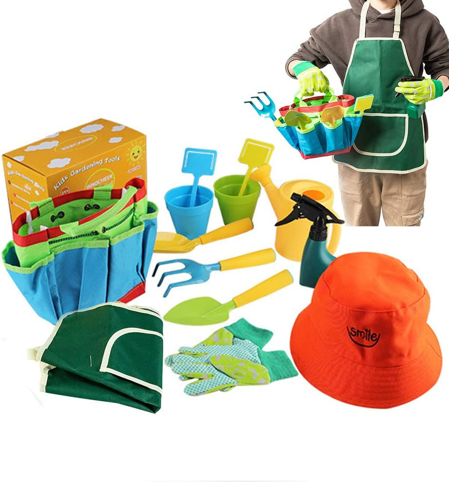 INSHERE Kids Gardening Tool Set Colorful Children All in On Garden Tools with Watering Can Gardening Gloves Kids Shovel Rake Water Sprayer Garden Tote Bag Fun -Toys Gifts for Toddler