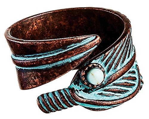 RAIN Copper-Tone Patina Feathers Bypass Ring (Ring Feather Wrap)
