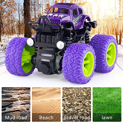 Monster Truck Toy Cars for Boys, 4 Pack Push Cars for Toddlers, 360 Degree Rotation Durable Friction Powered Car Toys for Christmas Kids Birthday Party, Gift for 3 4 5 6 7 8 Year Old Boys Girls