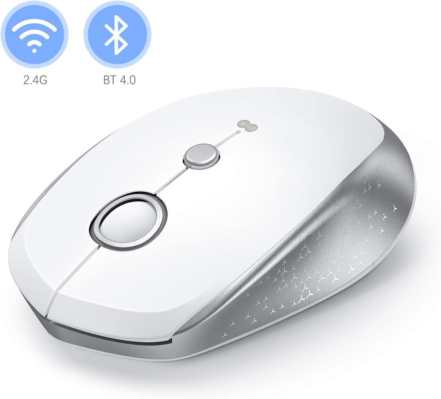 Bluetooth Wireless Mouse, Jelly Comb 2.4GHz Wireless Bluetooth Mouse Dual Mode Portable Mobile Mouse with USB Receiver, 3 Adjustable DPI Level for Laptop, MacBook, PC, Windows, Android, OS System
