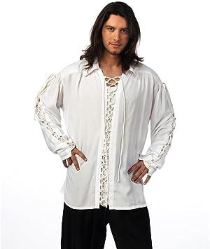 Camisa Blanca con Cordones Medieval para hombre: Amazon.es: Juguetes y juegos