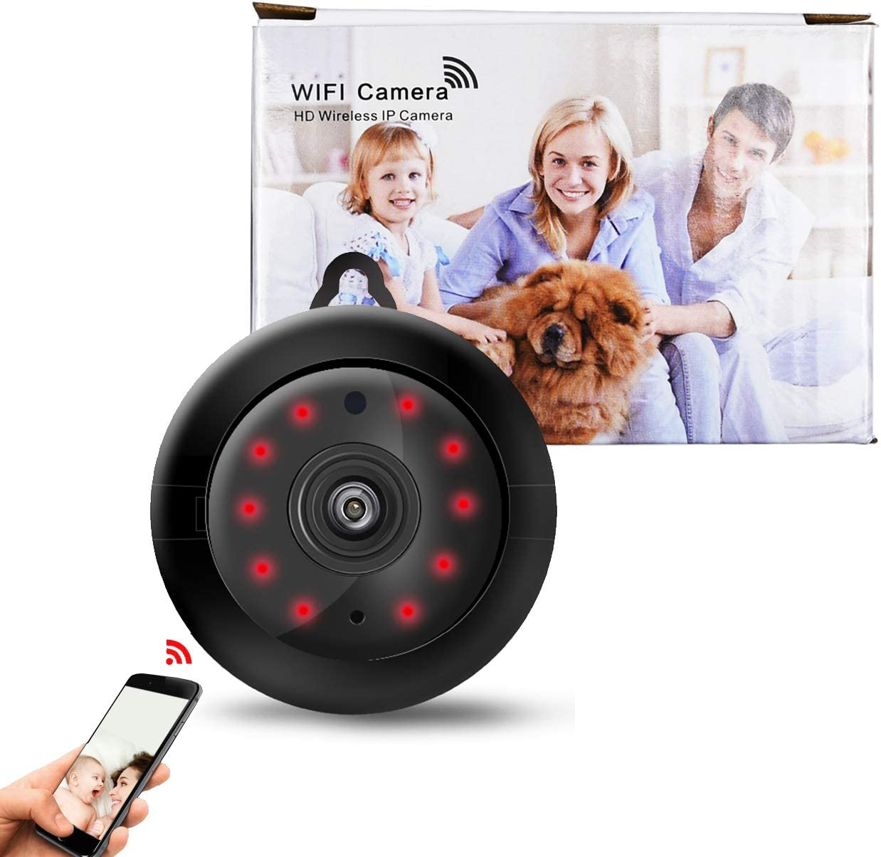 WiFi Wireless Home Security HD Video Camera/Dome Camera/Night Vision/Home IP Camera/Motion Detection/Security Surveillance System/Mini Size, iOS/Android App - Cloud Service Available_Hookup