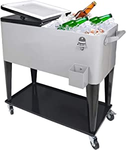 Nattork 80 Quart Rolling Cooler Ice Chest Car Portable Wicker Cooler Trolley for Outdoor Patio Deck Party,Beverage Bar Stand Up Cooler with Wheels, Ice Chest with Shelf, Water Pipe and Bottle Opener