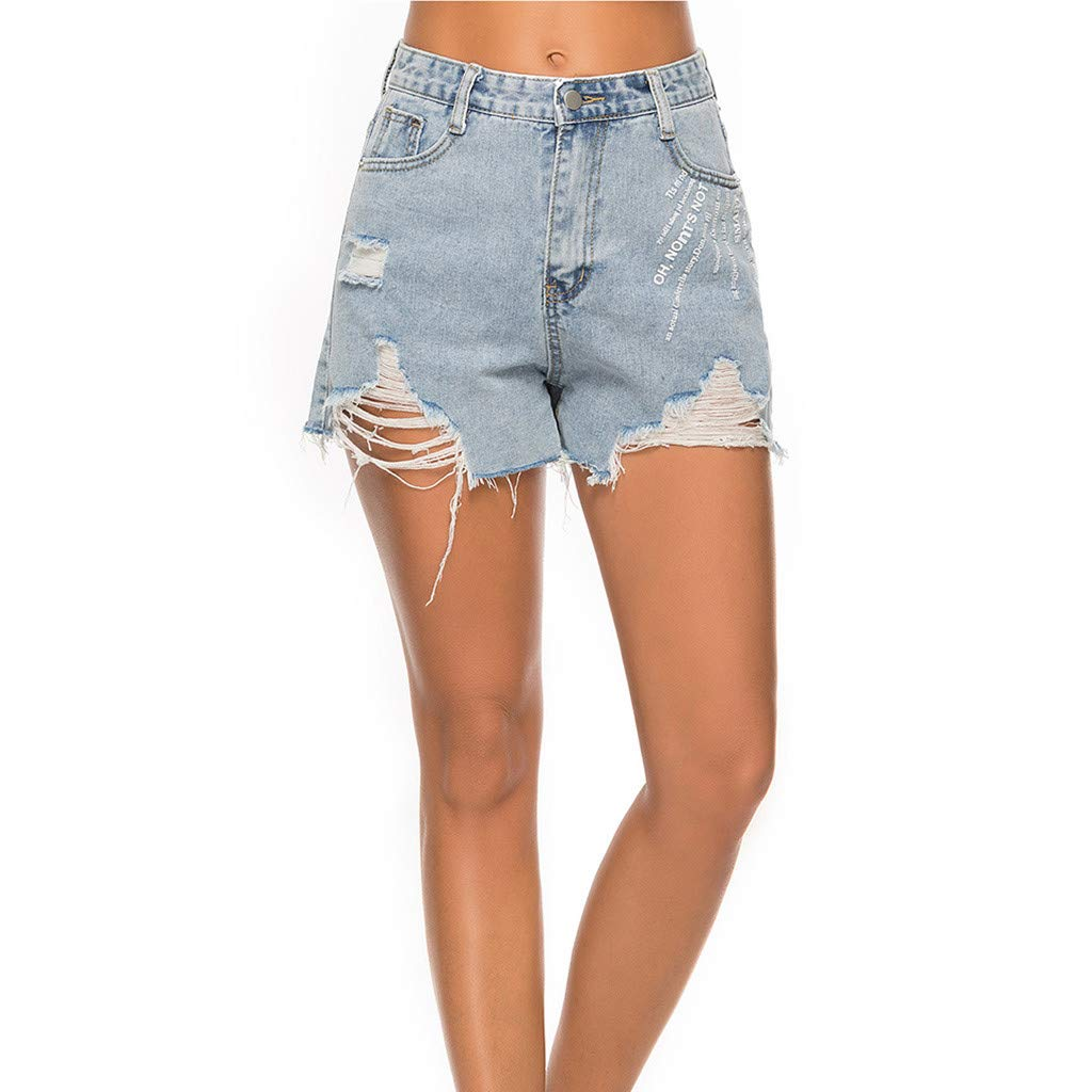 Tomppy Women Denim Shorts Casual Summer Mid Rise Frayed Raw Hem Ripped Jean Shorts Letter Printed Distressed Short Pants