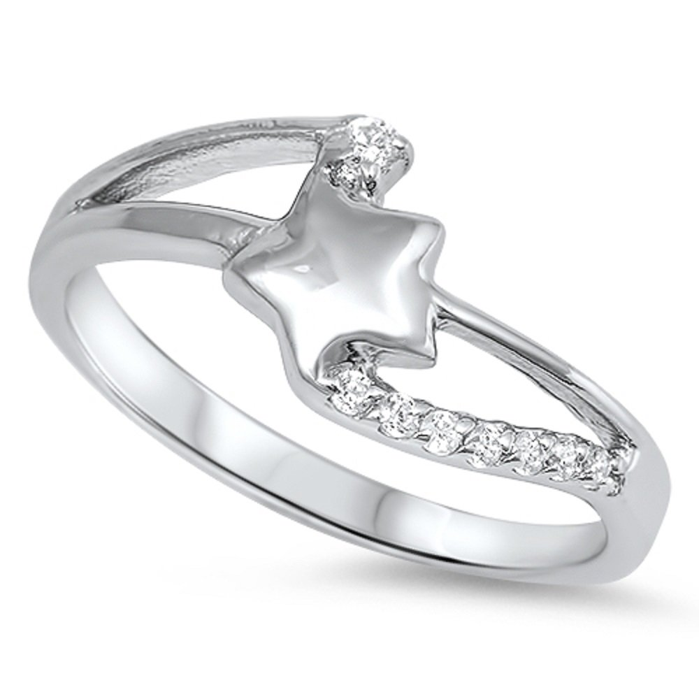 CloseoutWarehouse Clear Cubic Zirconia Shooting Star Ring Sterling Silver Size 8