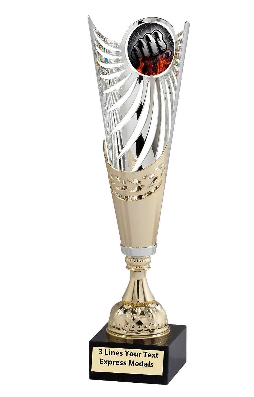 Express Medals ゴールド - シルバー 格闘技 拳 メタル トロフィーカップ 大理石ベース 刻印プレート カスタマイズ可 B07KJJQ2V4