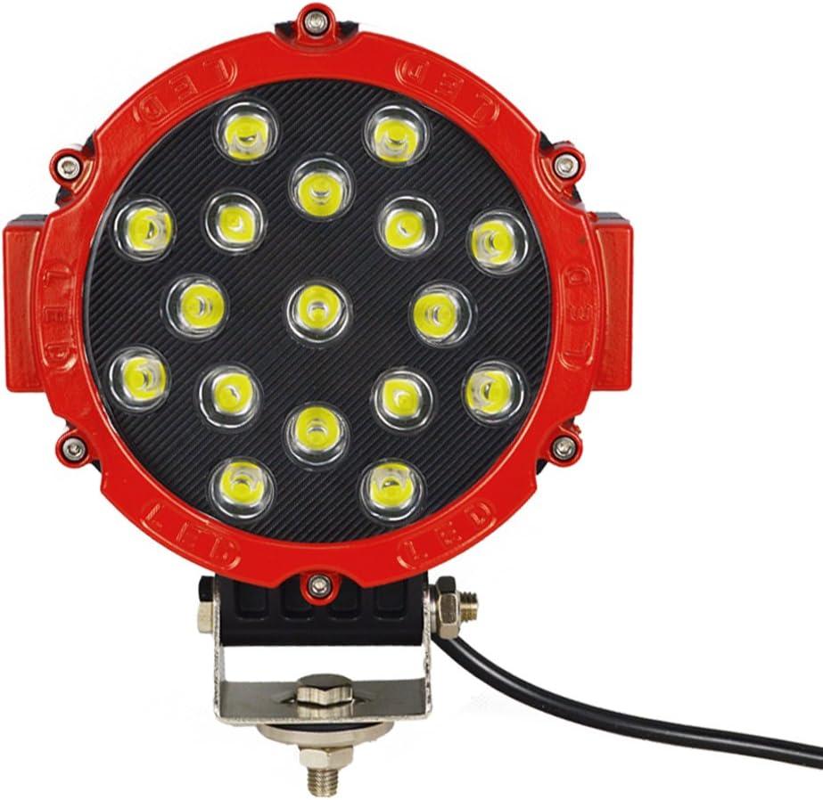negro Auxtings 7 Pulgadas 2 Pcs 51 W inundaci/ón barra de luz LED luces de conducci/ón luz de trabajo para todoterreno coche pastilla cami/ón SUV UTV
