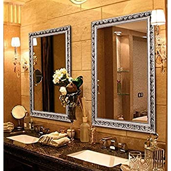 Large Rectangular Bathroom Mirror, Wall-Mounted Wooden Frame Vanity Mirror,  Silver (32