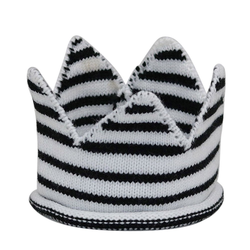 Amazon.com  Funbase Baby Knitted Crown Beanie Hat Solid Stripe Crochet  Birthday Party Cap  Clothing 60f8a22db8a