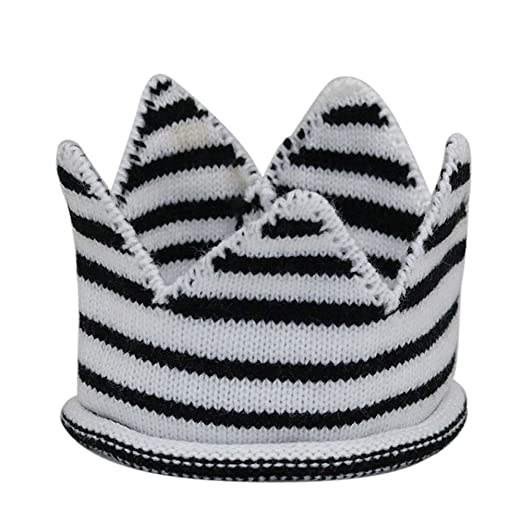 e0f7b1ea727 Amazon.com  Funbase Baby Knitted Crown Beanie Hat Solid Stripe ...