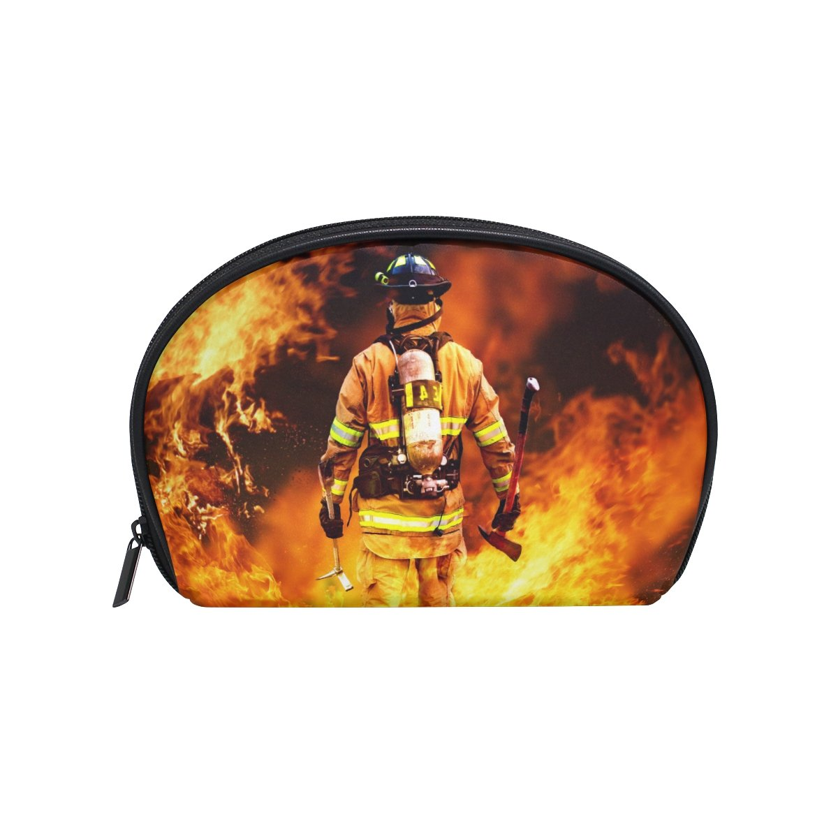 ALAZA Firefighter Half Moon Cosmetic Makeup Toiletry Bag Pouch Travel Handy Purse Organizer Bag for Women Girls