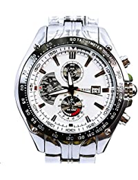 Relojes de Hombres Mens Bracelet Watch Metal Band Silver Tone Large Face CR8083SLWH