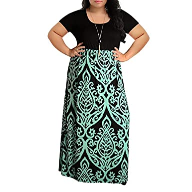 27264070978 Womens Dresses Clearance! Women s Print Summer Patchwork Short Sleeve Plus  Size Casual Long Maxi Dress