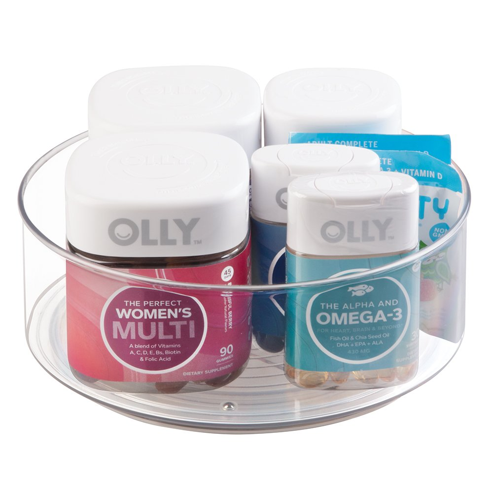 mDesign Lazy Susan Turntable Bin to Hold Vitamins, Supplements, Health Products for Bathroom Countertops - Clear by mDesign