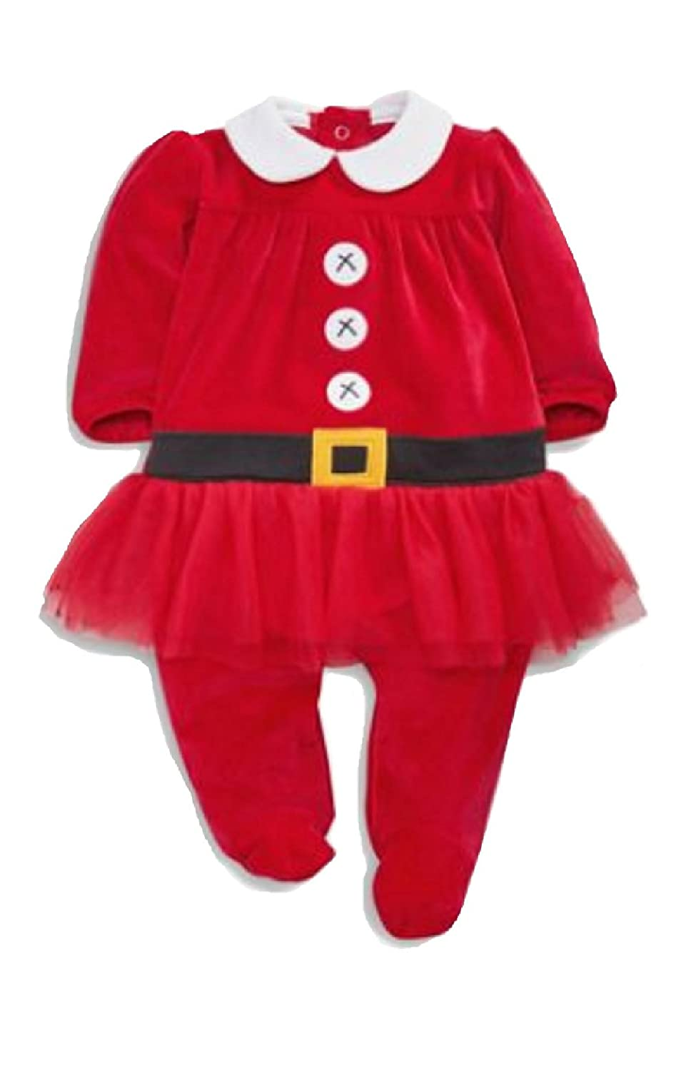 4bb050c350a Baby Girls Mrs Santa Velour Sleepsuit Festive Outfit (Up to 3 Months):  Amazon.co.uk: Baby