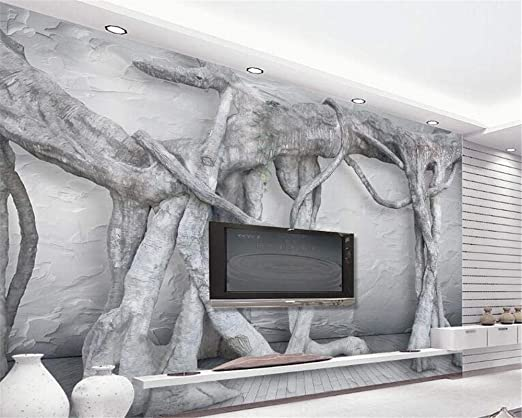 WANGZZZ Blanco y Negro 3D Tridimensional Arte árbol raíz ...
