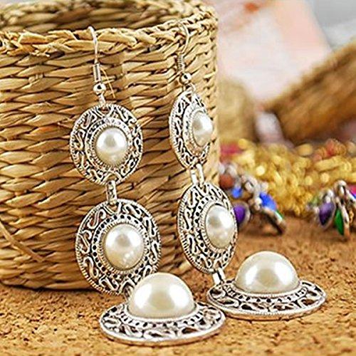 Circle Faux Earrings - JAGENIE Boho Faux Pearl Gemstone Chandelier Retro Alloy Circle Ear Earrings Dangle Hook