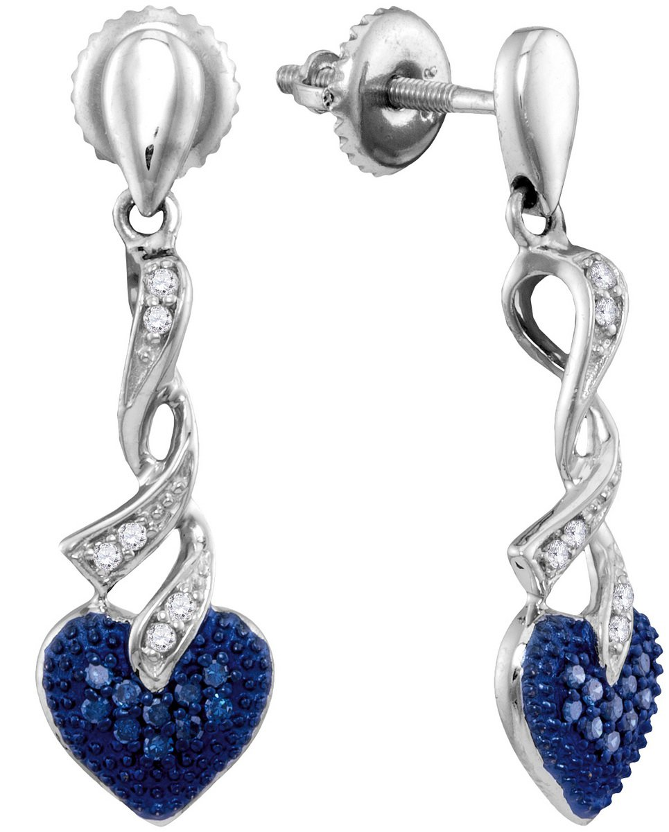 Sterling Silver Womens Round Blue Colored Diamond Heart Love Screwback Dangle Earrings 1/5 Cttw (I2-I3 clarity; Blue color)