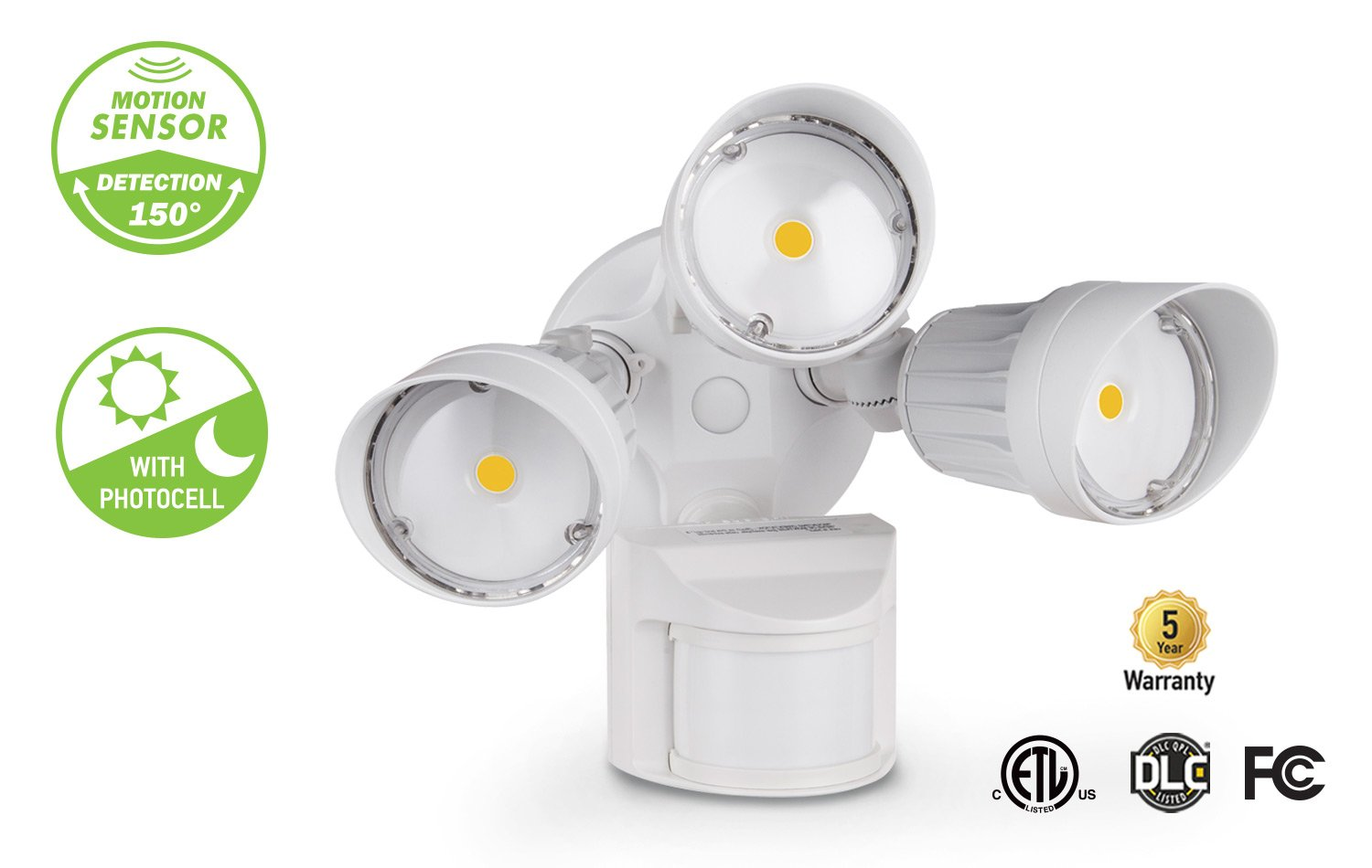 Asd Led Security Light 30w 3 Head With 150 Motion And Photocell Sensor Further Fluorescent Fixtures On Wiring Diagram Pc 5000k Dlc Standard White Home Improvement