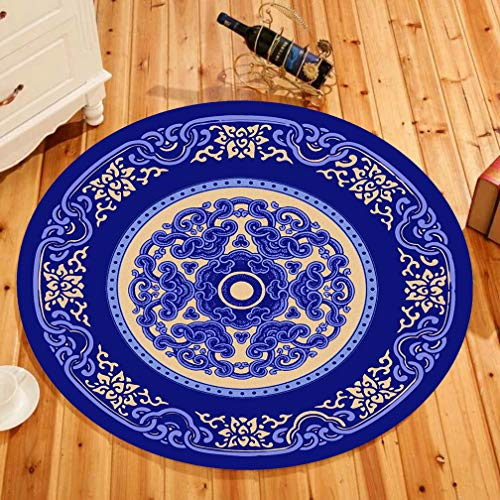 (MOXIC Traditional Round Area Rugs Soft Living Room Bedroom Children Kids Crawling Rug Bathroom Mats Anti-slip Persian Heriz Carpet Vintage Home Decorate Collection Circular Nursery Runners 2.5' X 2.5')