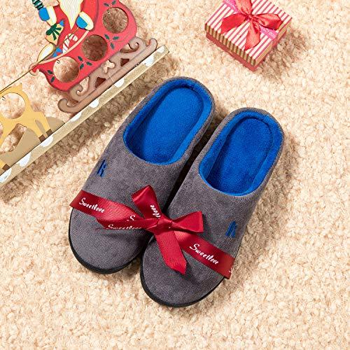 Donna Per Memory Ciabatte Antiscivolo E Da Foam Confortevole Invernale blu Casa Grigio Uomo Pantofole Madaleno xgBnUXq