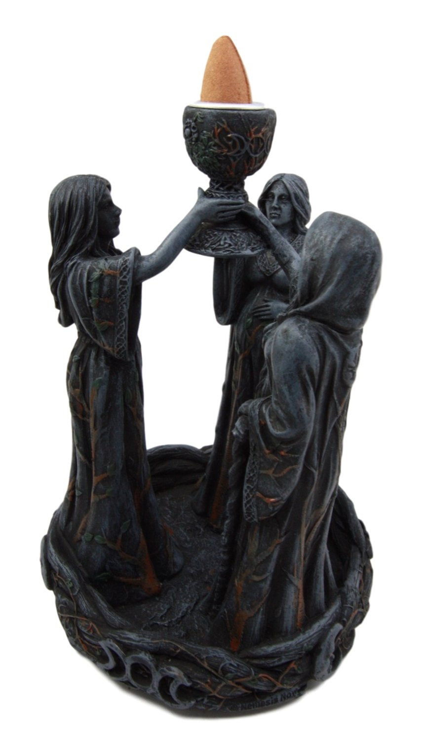 Atlantic Collectibles Wiccan Triple Goddess Maiden Expectant Mother & Crone Pagan Decorative Backflow Incense Cone Burner Figurine by Atlantic (Image #6)