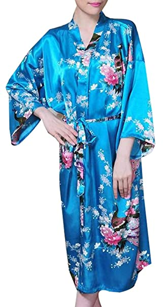 358f3fc87f Alion Women s Plus Size Floral Print Wrap Front Satin Kimono Robes Nights  Short Pajamas Us Small