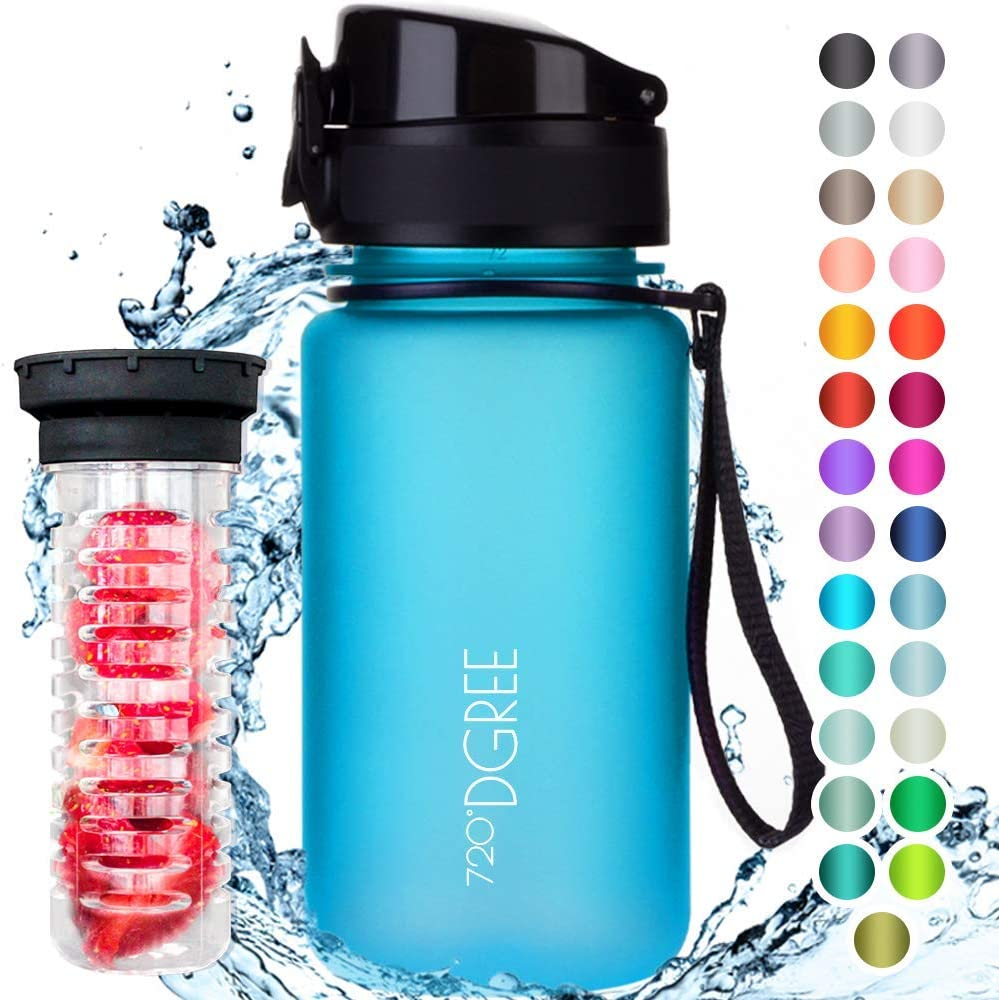 """720°DGREE Botella de Agua """"uberBottle"""" – 350ml   Impermeable y Reutilizable   para Beber Ideal para niños, Deporte, Escuela   Sin BPA   con Inserto de Fruta"""