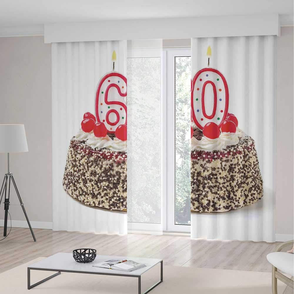 TecBillion Decor Collection,60th Birthday Decorations,for Bedroom Living Dining Room Kids Youth Room,Happy Party Cake with Candles Cherries and Sprinkles Image Photo2 Panel Set,103W X 94L Inches