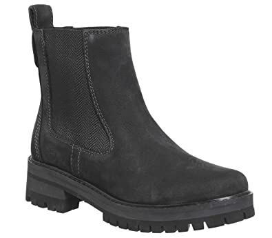 fe5361fc05c5b Timberland Womens Courmayeur Valley Leather Pull On Mid Calf Winter Boot -  Jet Black - 6
