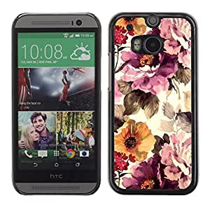 For HTC One M8 Case , Vintage Vignette Sunshine - Diseño Patrón Teléfono Caso Cubierta Case Bumper Duro Protección Case Cover Funda