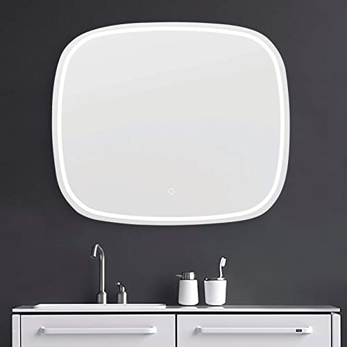 Koozzo 36×25.6 inch LED White Lighted Vanity Mirror, Frameless Rectangle Wall Mounted Mirror, for Bathroom Bedroom Living Room, w 6000K High Lumen Touch Switch