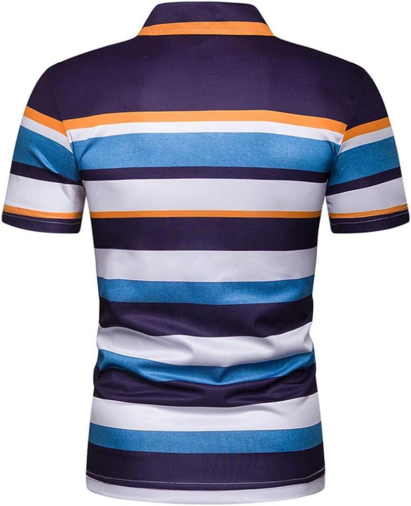 Mens Stripe Sleeve Lapel T Shirt Casual Polo Tops