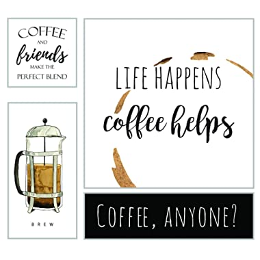 OHIO WHOLESALE, INC. Coffee Helps Canvas & Wood Bundle | Coffee Bar Cafe Home Decor Wall Art | Set of 4 | 25 x 23 Inch