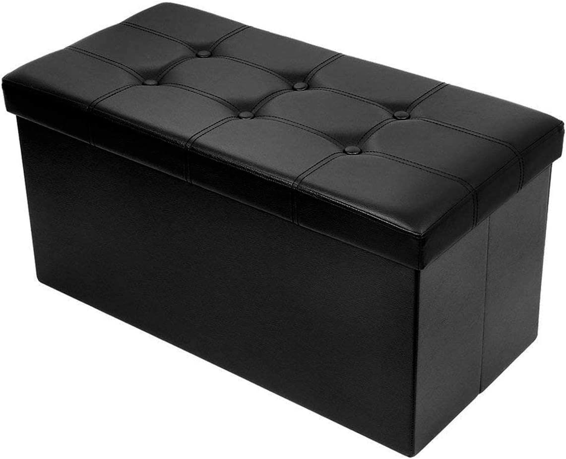 BRIAN & DANY 30L Faux Leather Folding Storage Ottoman Bench,Storage Chest, Perfect Toy and Shoe Chest, Foot Rest,Coffee Table,Folding Bench Chest with Cover (Black)