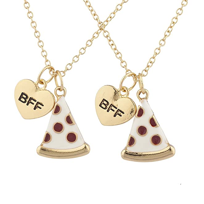 Lux Accessories Goldtone Enamel Pizza Emoji BFF Best Friend Forever Necklace 2Pc