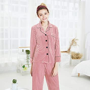 WEII Pijamas De Terciopelo De Oro De Otoño E Invierno Mujer Pantalones De Manga Larga De